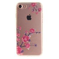 Doorzichtig Bloesemtakken iPhone 7 8 TPU hoesje - Roze Paars