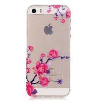 Transparant Bloesemtakken TPU iPhone 5 5s SE hoesje - Roze Paars