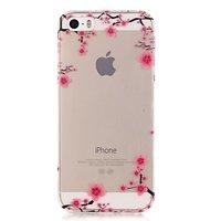 Doorzichtig Sierlijke Bloesemtakken iPhone 5 5s SE TPU hoesje - Roze Zwart