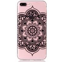 Doorzichtig Mandala Bloem iPhone 7 Plus 8 Plus TPU hoesje - Zwart