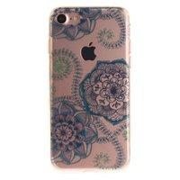 Doorzichtig Mandala Bloemen iPhone 7 8 TPU hoesje - Blauw