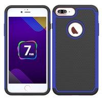 iPhone 7 Plus 8 Plus nopjes hybride Siliconen Kunststof tweedelig hoesje - Blauw Zwart