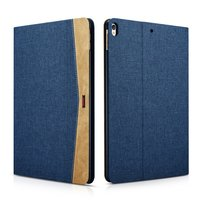XOOMZ iPad Air 3 (2019) & iPad Pro 10.5 inch (2017) case en cover Fabric Leder - Blauw Bruin