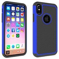 iPhone X XS nopjes tweedelig hybride Kunststof Siliconen hoesje - Blauw Zwart