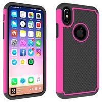 Tweedelig hybride Kunststof Siliconen iPhone X XS noppen hoesje - Roze Zwart