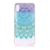 Doorzichtig Mandala TPU Hoesje iPhone XR - Paars Turquoise