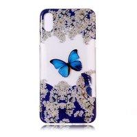 Transparant TPU Hoesje bloem en vogel iPhone XR - Blauw Wit