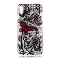 Transparant Kanten Bloemen Vlinder Hoesje TPU iPhone XR - Zwart Rood