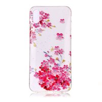 Kleurrijk Transparant Bloemen Hoesje TPU iPhone XR - Roze