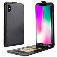 Crazy Horse Leren Flipcase Pasjeshouder iPhone XR - Zwart