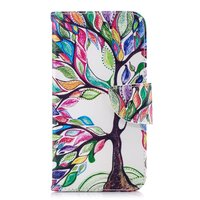 Kleurrijke Leren Portemonnee Hoes Boom iPhone XR- Kleurrijk