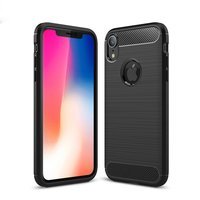 Brushed Carbon TPU Case iPhone XR - Zwart