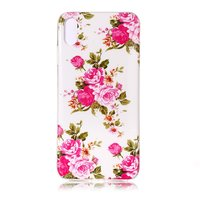 Glow In The Dark TPU Hoesje rozen iPhone XR - Wit Roze