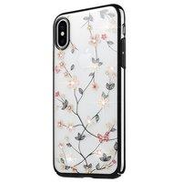 Transparante harde Case bloemen met glinster steentjes iPhone XR - Doorzichtig