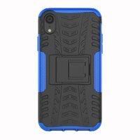 Shockproof Autoband hoesje TPU iPhone XR Case met Standaard - Blauw