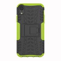 Shockproof Autoband hoesje TPU iPhone XR Case met Standaard - Groen