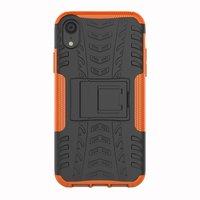 Shockproof Autoband hoesje TPU iPhone XR Case met Standaard - Oranje