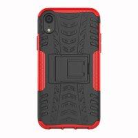 Shockproof Autoband hoesje TPU iPhone XR Case met Standaard - Rood