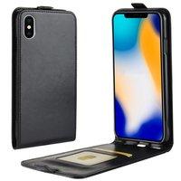 Lederen iPhone XS Max flipcase hoesje - Zwart