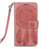 Dromenvanger Lederen iPhone XS Max wallet Bookcase hoesje - Roze