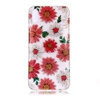 Glitter Bloemen TPU iPhone XS Max hoesje - Rood Wit