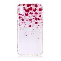 Soepel TPU hartjes en bloemen hoesje iPhone XS Max - Roze Rood