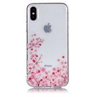 Doorzichtige Flexibele TPU Case kleine bloemen iPhone X XS - Roze