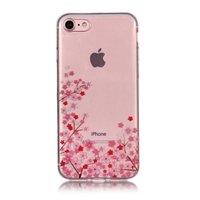 Doorzichtige Flexibele TPU Case kleine bloemen iPhone 7 8 - Roze