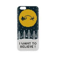 FLAVR Kerst Cardcase Ugly Xmas Sweater kerstman believe iPhone 6 6s - Blauw