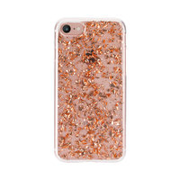 FLAVR iPlate rose gold glitters transparant iPhone 6 6s 7 8 - Roze Goud