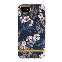 Richmond & Finch hoesje hardcase plastic bloemen jungle iPhone 6 6s 7 8 SE 2020 - Blauw