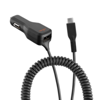 Ventev Sigarettenplug Lader Type-C aansluiting - Dual Charge Zwart