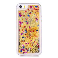 Doorzichtige gouden glitter case flexibel transparant hoesje iPhone 5 5s SE 2016 - Transparant