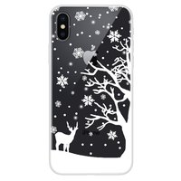 Kerst flexibel sneeuw hoesje winter case christmas iPhone X XS - Transparant