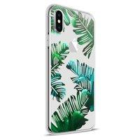 Flexibel hoesje groene bladeren transparant hoesje iPhone X XS - Transparant