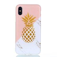 Flexibel hoesje gouden ananas marble gold marmer iPhone X XS - Roze Wit