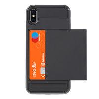 Secret pasjeshouder hoesje iPhone XS Max hardcase portemonnee wallet - Zwart