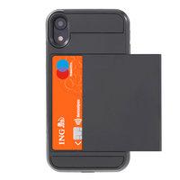 Secret pasjeshouder hoesje iPhone XR hardcase portemonnee wallet - Zwart