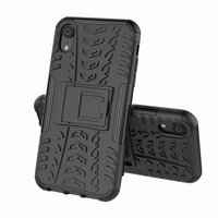 Hybride standaard case shockproof hoesje iPhone X XS - Zwart