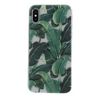 Bladeren groen TPU Case iPhone X XS - Groen Hoesje