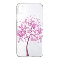 Roze Bloemen Boom TPU iPhone XR hoesje Cover - Transparant Case