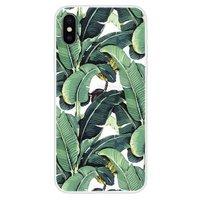 Bananen Bladeren hoesje iPhone X XS TPU Case - Groen cover