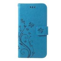 Vlinder Wallet Kunstleer TPU Case iPhone XR - Blauw hoesje