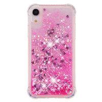 Glitter Poeder Beschermend hoesje TPU iPhone XR - Roze Case