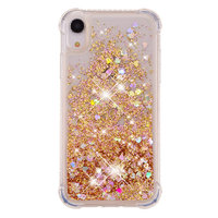 Bewegend Glitter Poeder Beschermend TPU iPhone XR hoesje - Goud Case