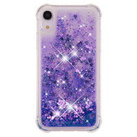 Bewegend Glitter Poeder Paarse Beschermend hoesje TPU iPhone XR - Donker Paars Case