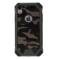 Camouflage Leger kunstleer TPU Bescherming Groen hoesje iPhone XR - Army Green