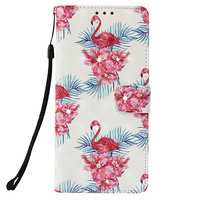 Flamingo Wallet iPhone XR Kunstleer TPU Case - Bloemen