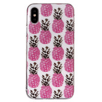 Roze Ananas TPU Zacht hoesje iPhone XS Max cover - Wit Case