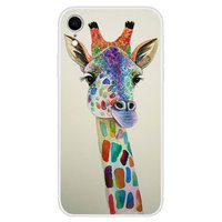 Zacht TPU hoesje met giraffe print iPhone XR case - Transparant
